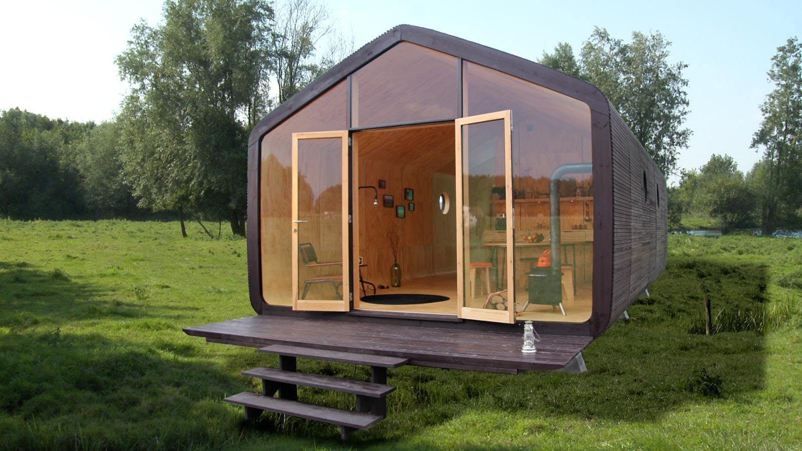 Tine House - Ob als Gartenhaus, Büro oder Show-Room: Das Wikkelhouse ist vielseitig einsetzbar, Tageslicht dringt von vorn und durch die seitlichen Bullaugen