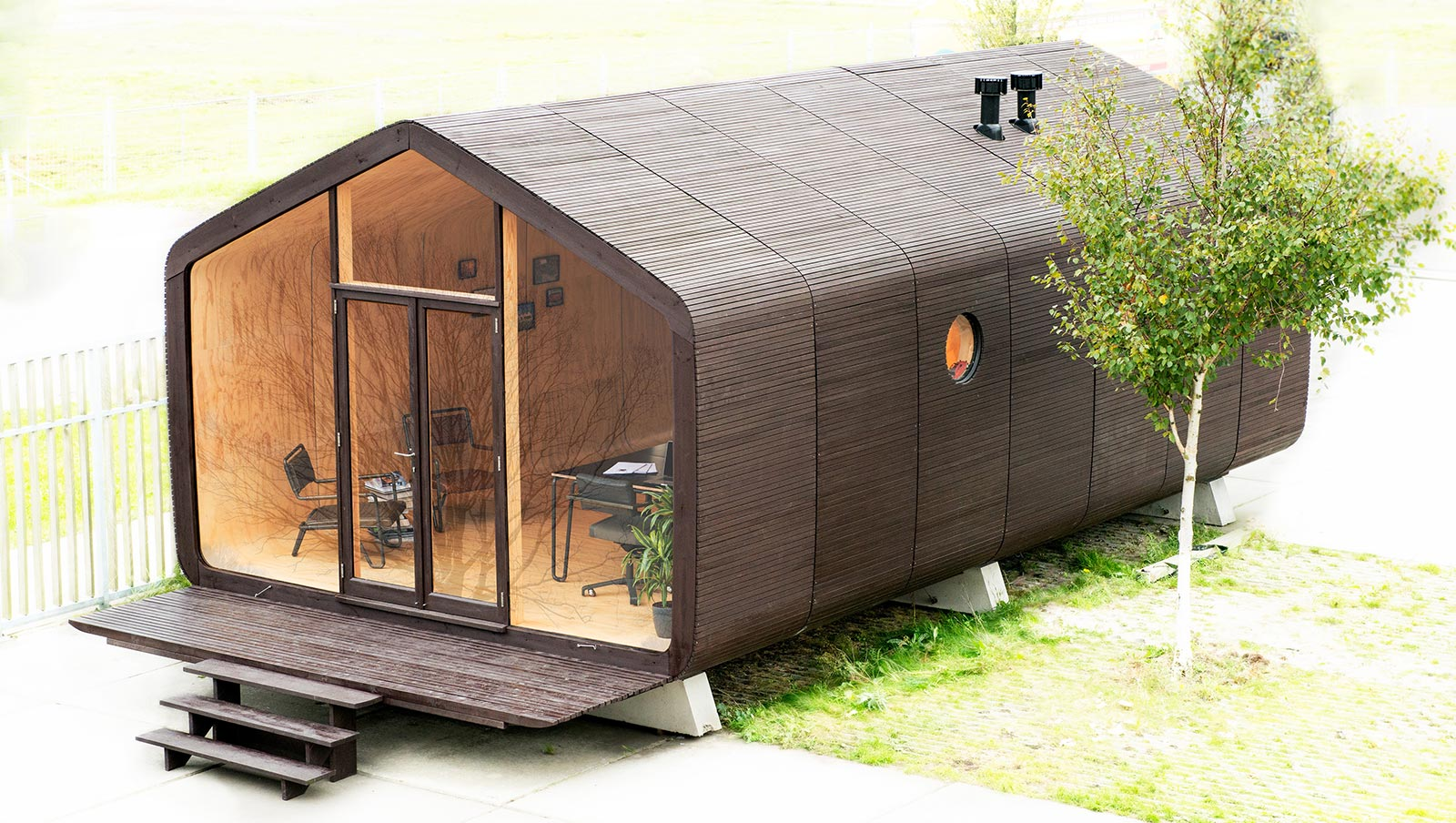 Sieben Elemente ergeben einen gut 40 Quadratmeter großen Raum, macht dann mindestens 175.000 Euro für das Tine House!