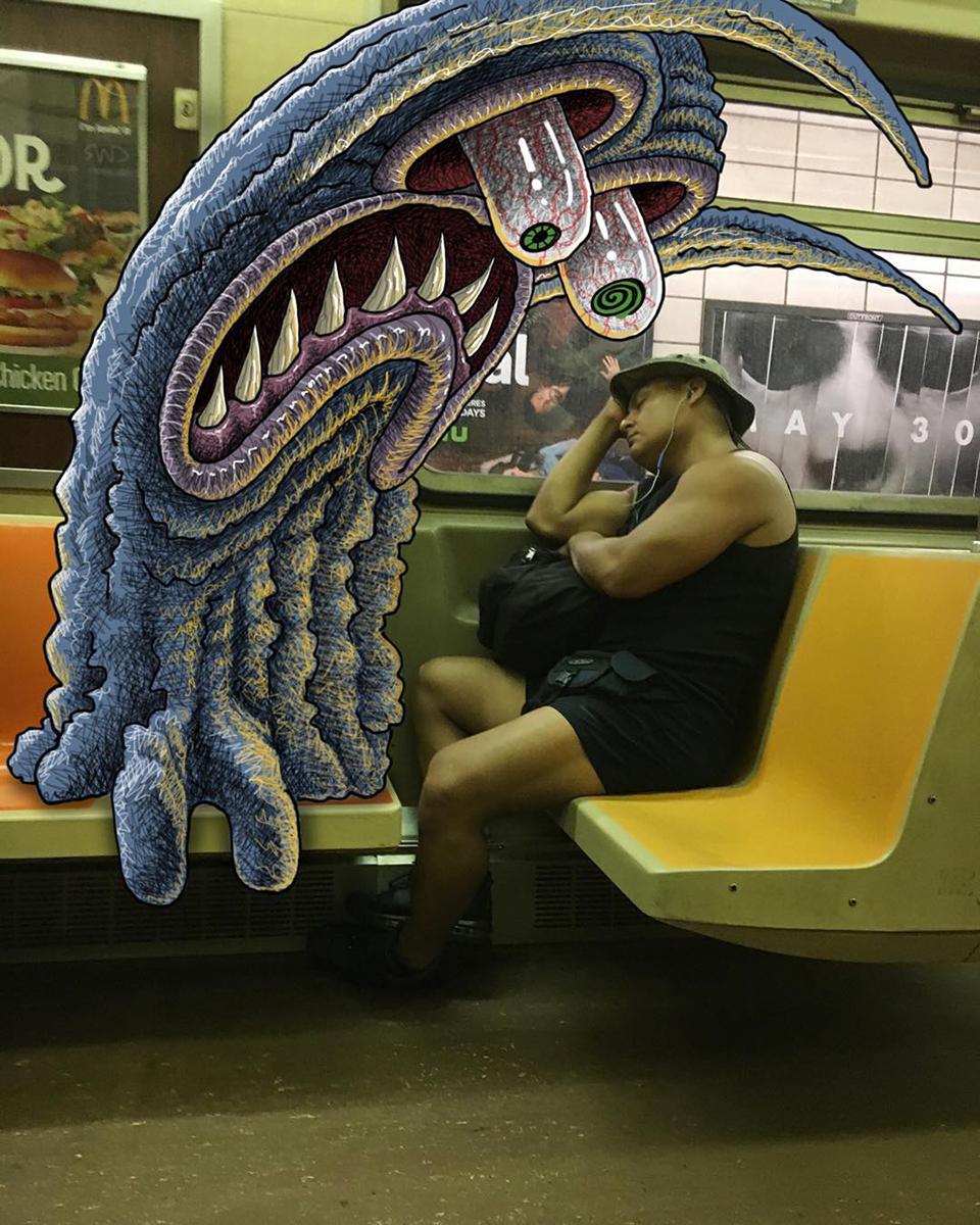 Eines der niedlichen Monster des Grafikkünstlers von Subway Doodle